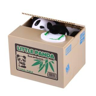 可愛的孩子們自動化的熊貓偷錢幣銀行節省金錢的盒