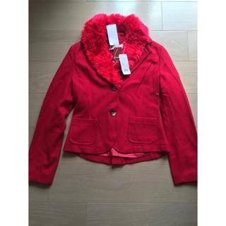 CUMAR 毛領紅色外套  毛外套