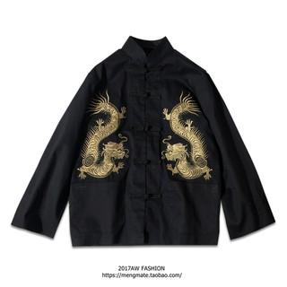 現貨[W-3157]黑暗復古刺繡龍袍唐裝長分袖外套