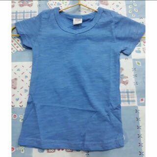 男女童 兒童純棉竹節棉素色短袖上衣 踢恤 T恤
