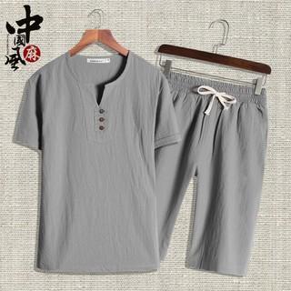 現貨中華風男裝夏季棉麻短袖套裝中國風男裝青年男唐裝休閑漢服中式亞麻居士服