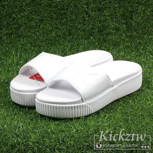 Puma Platform Slide Bold Wns 女鞋 全白 皮革 厚底 增高 拖鞋 367064-02