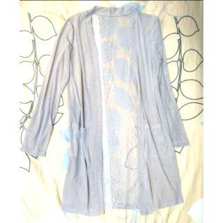003 全新 浪漫鏤空蕾絲紗網薄款長版外套 長版罩衫