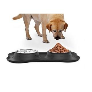 日本原裝進口 小狗小貓飼料盆貓咪犬飼料盒不鏽鋼飼料收納盤寵物喝水盆吃飯碗 3078b 0 競標