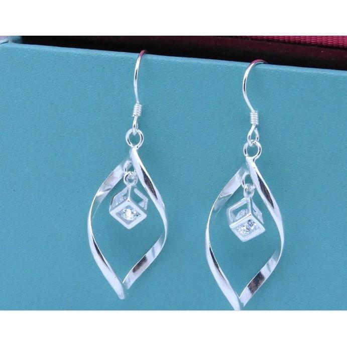 990純銀耳環 韓版魔法水晶耳環女士耳墜銀飾品首飾/生日禮物,情人節