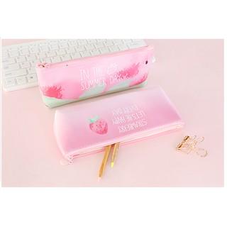 可愛小清新草莓筆袋筆盒 大容量鉛筆袋 女中小學生創意文具盒收納袋