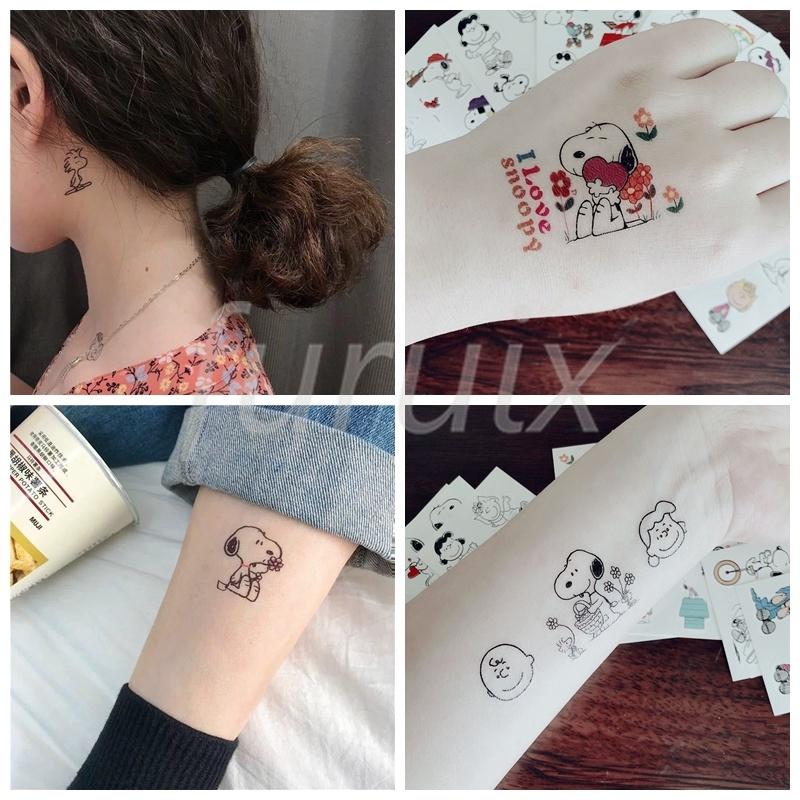 史努比紋身貼 SNOOPY查理紋身貼彩色刺青貼 可愛少女兒童卡通貼 卡通紋身貼 文創貼紙 文藝貼紙