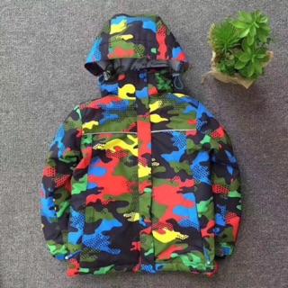 冬季兒童加厚保暖防水衝鋒衣外套中大童加絨夾棉防風滑雪棉服