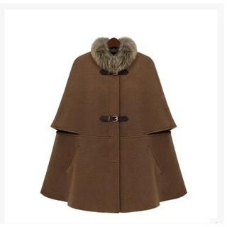 【預購】歐美秋冬新款真毛領貉子毛領斗篷披肩大衣毛呢外套