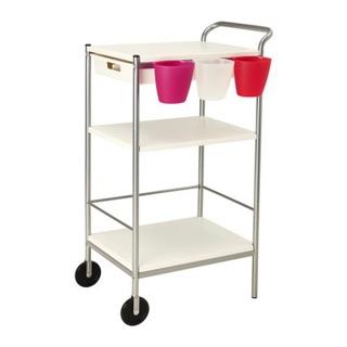 IKEA BYGEL三層廚房推車儲物架(白銀色)需自取