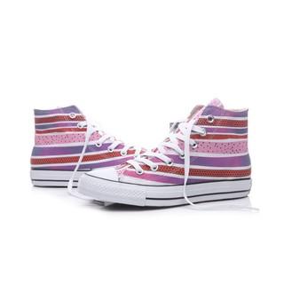 凱西全球購 Converse 帆布鞋  All Star 16年款 高筒 男女款 粉紫條紋 幾何