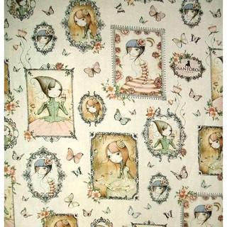 英國插畫家Gorjuss空靈娃娃棉布:美國SANTORO 花仙子幾何框格盤區圖案布(二尺一份)