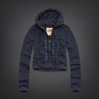 美國百分百【Hollister Co.】外套 HCO 連帽外套 夾克 海鷗 藍灰 雪花 刺繡 女 S號 B820
