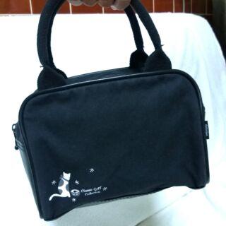 黑色貓咪帆布小手提包