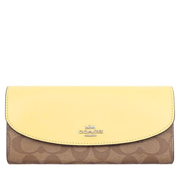 【美麗小舖】全新真品 COACH 54022 鵝黃色真皮皮革/經典C logo防刮PVC皮革 掀蓋 皮夾 長夾-現貨在台