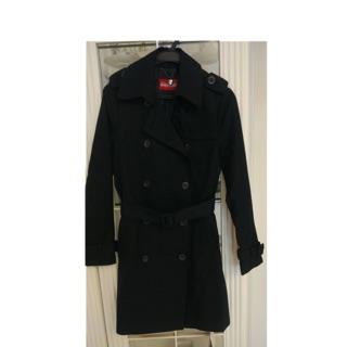 奇威(Keywear)防潑水黑色長版風衣