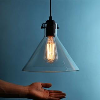 美式簡約個性玻璃吊燈創意餐廳燈酒吧臺漏斗單頭透明玻璃燈罩吊燈