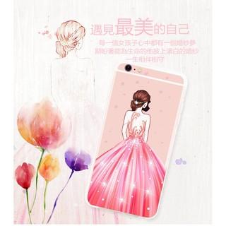 日韓婚紗彩繪水鑽i6/i6splus i7/i7plus全包軟殼手機殼配掛繩+鋼化膜