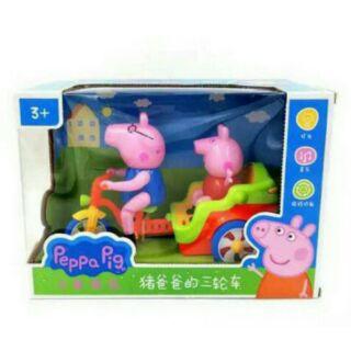 粉紅豬小妹 佩佩豬三輪車 豬爸爸 旋轉 聲光 音樂 腳踏車