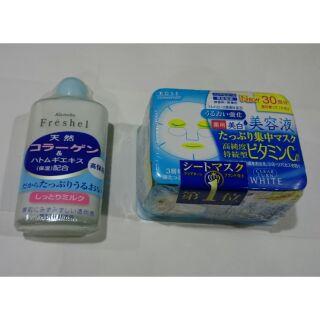[即將到期]日本原裝:佳麗寶保溼乳液+高絲美白面膜30片