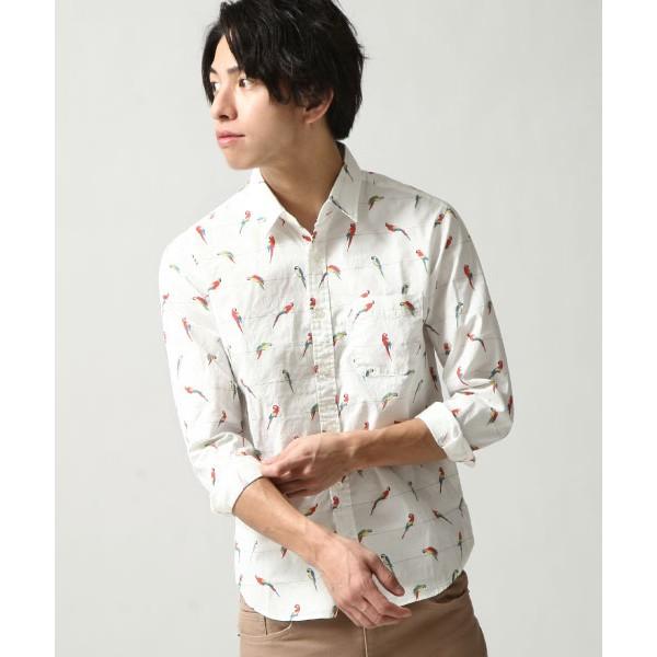 ZIP 日本製動物印花襯衫 休閒襯衫 男生襯衫 純棉長袖襯衫 長袖上衣 日本品牌 鸚鵡白色【18pt001】