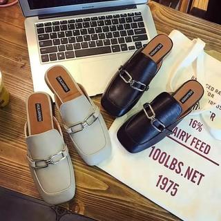鞋子 復古方頭拖鞋