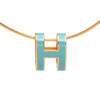 Hermes H 橢圓 項鍊 Tiffany 稀有色 綠 翡翠綠*金