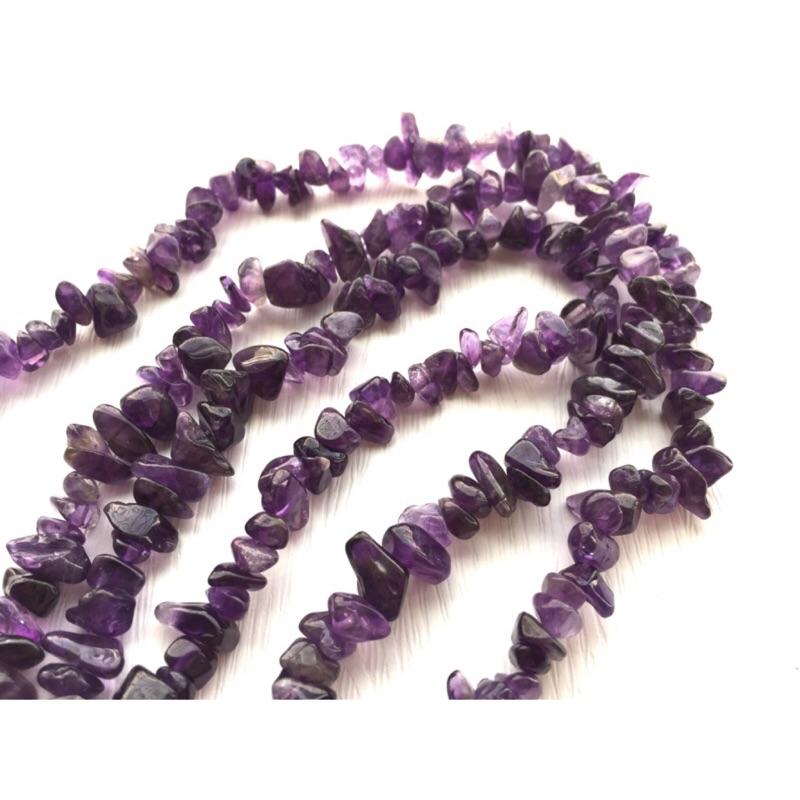 晶御    串珠材料DIY~天然紫水晶不規則碎石串