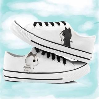 個性萌妹潮男都可穿 大碼低幫惡魔與天使貓帆布鞋小清新學生韓版女鞋男情侶鞋手繪款鞋