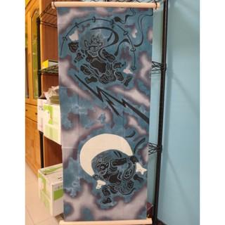 日本製 傳統手作工藝 注染 趣味手拭 風神&雷神 日式和風掛飾 居家佈置 (含日本木掛軸)