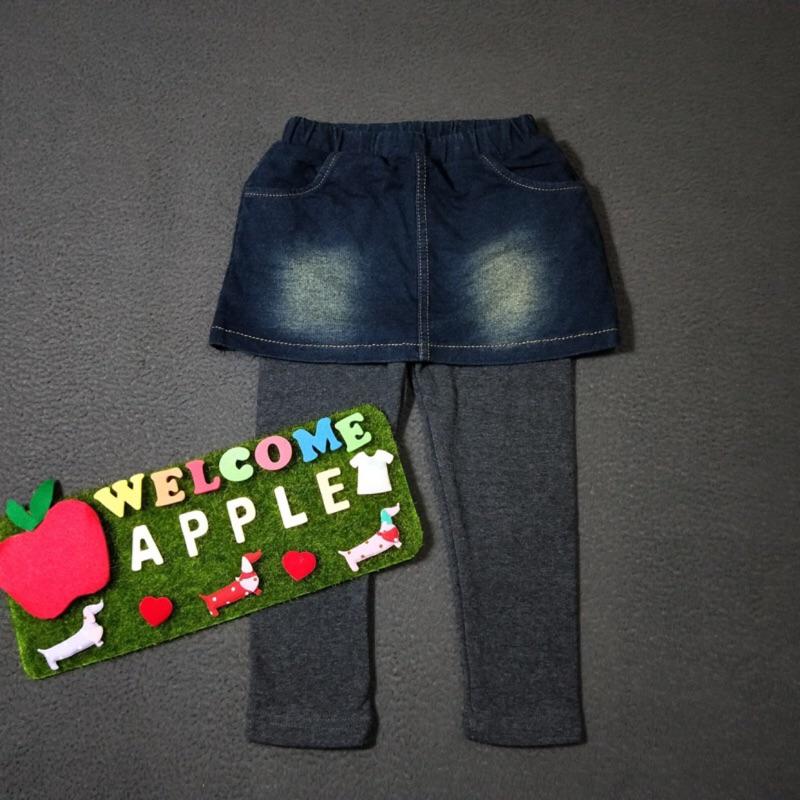 Apple童裝 兔子假兩件牛仔裙  童裝 女童 女童褲裙 百元童裝 平價童裝
