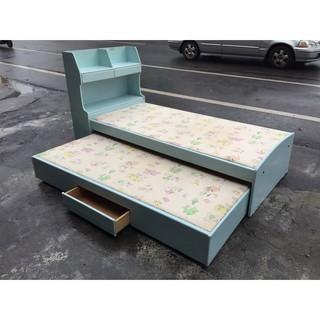 東鼎二手家具 藍綠色 單人3尺 收納子母床*上下舖*二手上下舖*上下床*子母床*單人床架*
