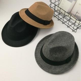 百搭黑色小捲邊毛呢紳士帽禮帽潮男女英倫復古爵士帽子 休閒毛氈帽男士