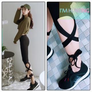 春夏透氣舒適彈性綁帶式七分芭蕾健身褲瑜伽褲運動褲 取代nike adidas 運動品牌