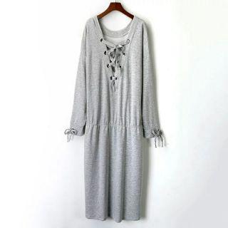 歐美 很難撞衫款大尺碼 洋裝 連身裙 v領綁帶 在大的長輩都容的下