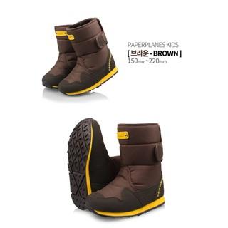 韓國Paperplaneskids防寒防水防滑兒童雪靴 太空靴 (棕色/170mm)