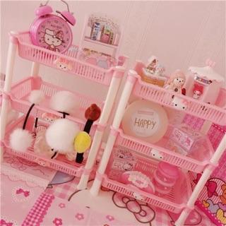 粉色kitty 美樂蒂 架子 收納置物架 廚房收納 三層架 收納架