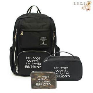 B.S.D.S冰山袋鼠 - 瑪德琳假期x大容量輕旅後背包+收納兩用包+漆皮小包3件組★ 輕盈防水與時尚兼具