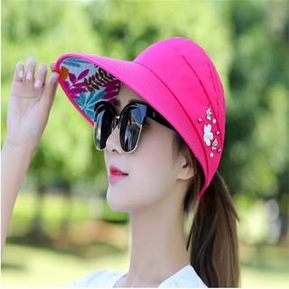 帽子女 夏天休閑百搭帽 出遊防紫外線遮擋帽 韓版夏季可折疊防曬太陽帽遮陽帽