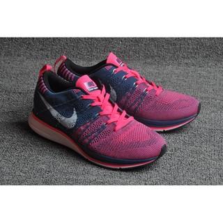 Nike Flyknit Racer Nike飛線陰陽鞋 梅紅深藍 女鞋