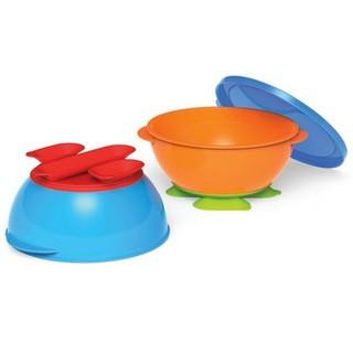 壹號百貨【現貨+預購】美國 NUK 幼兒 兒童 吸盤塑膠碗  2個碗&1個蓋子  寶寶學習碗