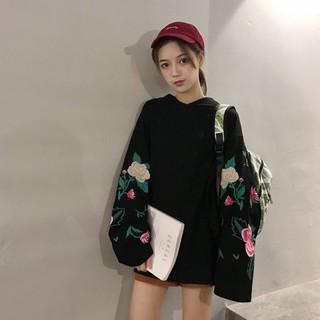 韓國 刺繡花朵連帽上衣 現+預 G0424~