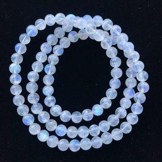 純天然冰種月光石三圈手鏈 顆顆強藍光 珠子6.5mm 三圈 重35克