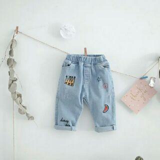 韓版皇冠西瓜刺繡七分哈倫牛仔褲