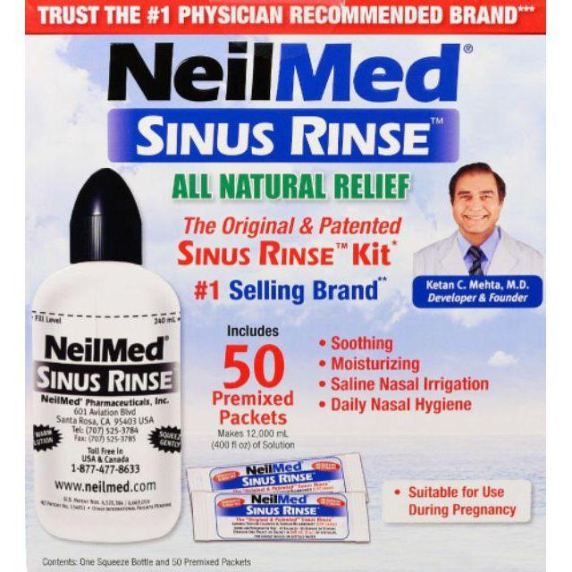 限時均一價599❗❗《全新現貨  當日不必等》美國【NeilMed】50包洗鼻鹽+鼻腔沖洗瓶/100包洗鼻鹽