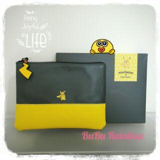 韓國Pokemon x Tonymoly寶可夢比卡丘撞色化妝包 聯名款 手拿包 收納包