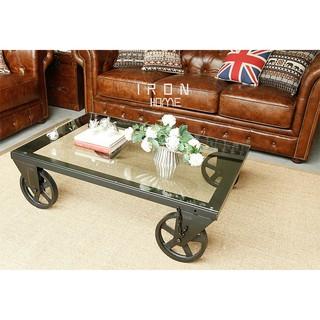 北歐鐵藝術長方茶几創意沙發邊几角几鋼化玻璃茶几簡约現代