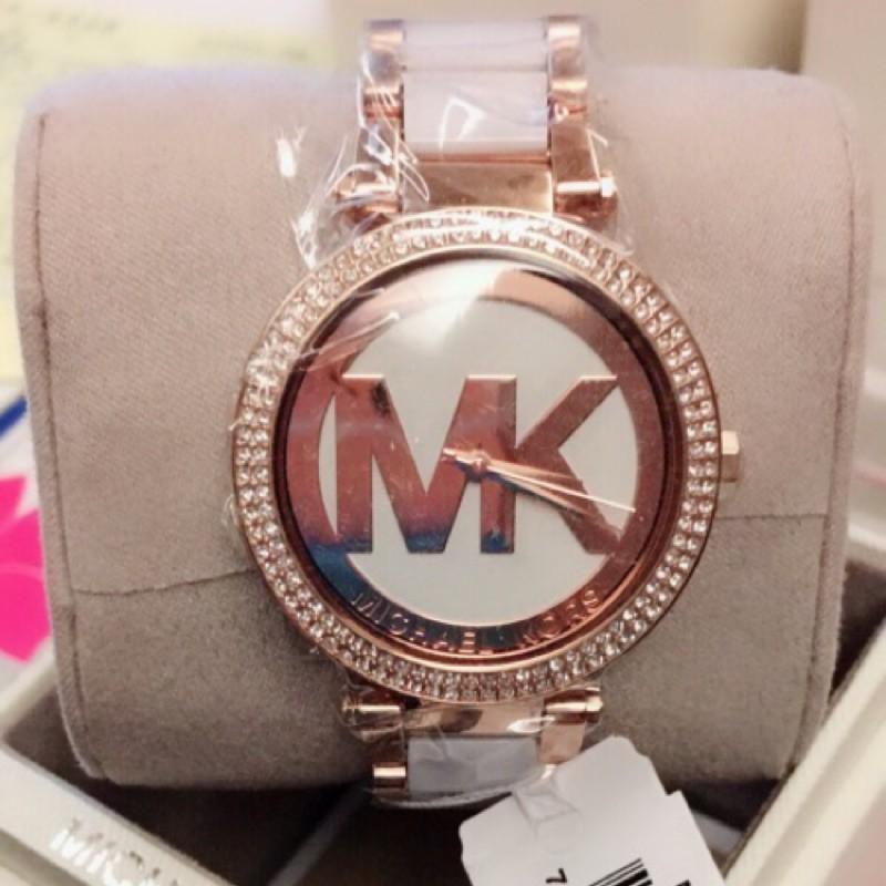 Sweet shop✨ Michel Kors MK6365 滿圈水鑽MK大logo玫瑰金MK女錶🎀
