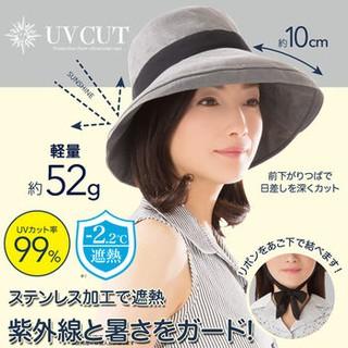 日本 NEEDS 10cm寬緣小臉綁帶帽 可收納 遮陽涼感帽 (鐵灰色)-LC