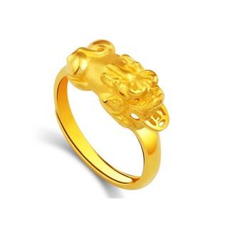 招財轉運戒指一定要戴在無名指新品3D 硬金S925 銀鍍黃金貔貅戒指噴砂金可調式開口戒